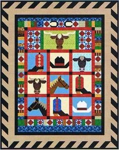 Quilt Fabrics and Unique Western and Woodland Quilt Patterns by Designer Janet Ludwig Boy Quilts, Mini Quilts, Quilting Projects, Quilting Designs, Southwestern Quilts, Cowboy Quilt, Texas Quilt, Horse Quilt, Westerns