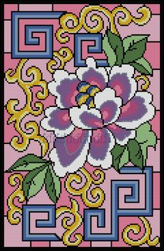 Stained Glass of Oriental Elements Cross Stitching, Cross Stitch Embroidery, Hand Embroidery, Cross Stitch Patterns, Embroidery Letters, Modern Embroidery, Melty Bead Designs, Bed Quilt Patterns, Crochet Square Patterns
