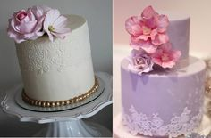 Edible lace wedding cakes by Sugar Couture Cupcakes and Cakes left, Sweet As Sugar Cakes right
