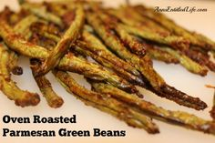 Oven Roasted Parmesan Green Beans; an easy recipe that perks up your fresh, garden green beans; these are so good, your kids will be asking for seconds!