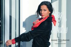 French silk scarves by ANNE TOURAINE Paris™: Floral red scarf; tied as a large and loose kerchief