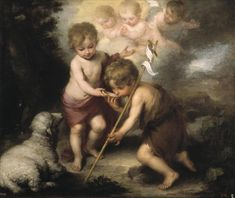 Bartolome Esteban Murillo Infant Christ Offering a Drink of Water to St John, , Museo del Prado, Madrid. Read more about the symbolism and interpretation of Infant Christ Offering a Drink of Water to St John by Bartolome Esteban Murillo. Catholic Art, Catholic Saints, Catholic Online, Religious Paintings, Religious Art, Esteban Murillo, Jean Baptiste, Spanish Painters, John The Baptist
