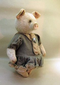 Piggy By Inna Budagyan - The pig is embroidered from an old plush stuffed with sawdust. The eyes are the glass. connection on cotter pins. Clothes are not removed. Pig do not stand alone. Mail delivery . parcel delivery once a week. The delivery is about 3 weeks. Delivery is free