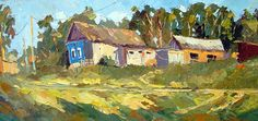 "Village - Original oil painting on cotton canvas by Dmitry Spiros. Size: 24""x32""…"