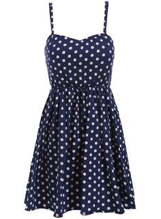 Spaghetti Strap Polka Dot Pleated Dress 17.67
