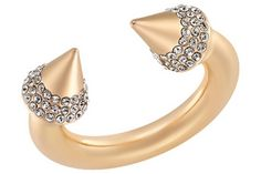 Swarovski Crystal 24K Rose Gold Plated Spike Ring By Vita Fede, $275.
