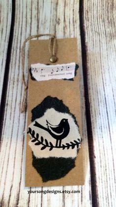 Songbird Vintage Sheet Music Handmade Bookmark  $6.99 www.yoursongdesigns.etsy.com