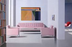 "Tom Mckinley ""pale pink suite"" 2009 oil on panel 25 3/4 x 40"