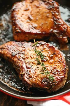 Easy Pork Chops with Sweet and Sour Glaze - The easiest, no-fuss, most amazing pork chops ever, made in 20 min from start to finish. You can't beat that! @damndelicious