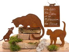 Rostige Katzen Steel Art, Garden Ornaments, Diy Projects To Try, Diy And Crafts, Stencils, Artwork, Animals, Outdoor, Decor