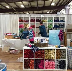 Setting up the Nice & Knit booth