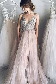 A-line V neck Long Tulle New Arrival Appliques Prom Dresses with  Beads 17750c7c4174
