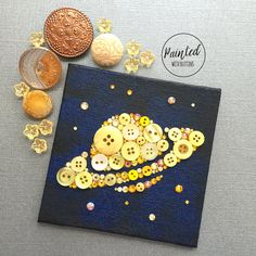 Saturn and Stars Button Art Small Wall Art by PaintedWithButtons