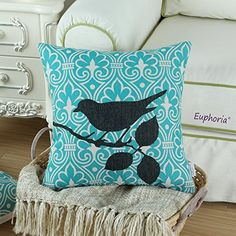 "Euphoria Home Decorative Cushion Covers Pillows Shell Cotton Linen Blend Cute Black Shadow Bird Branch Teal Geometric Ground 18"" X 18"""