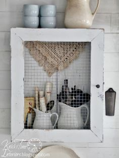 DIY Primitive Cupboard from a Repurposed Wooden Crate and Frame
