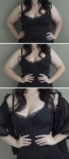 Simple posing tips for curvy girls - cover arms and bring hands together at waist. Or if arms have no cover point elbows forward, it tilts things in all the right ways ;-D - Click image to find more Photography Pinterest pins