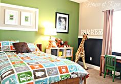 I like this wall colors:  Green wall – Fresh Parsley CI 37 By Valspar Signature {Lowes}    Light colored walls – Lambs Ear CI 145 by Valspar Signature {Lowes}    Dark Wall – Rustoleom Chalkboard Paint {Home Depot or Lowes}