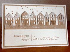 """Die schlichte Karte: Weihnachten II, Weihnachtskarte, """"Brevilla Houses"""" von Poppystamps, Schneestempel und Stempel """"Besinnliche Adventszeit"""" von  Alexandra Renke"""