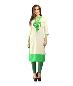 Casual Stitched Green Solid Cotton Kurti