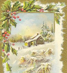 Christmas in the Country Vintage Christmas Postcard by TheOldBarnDoor,