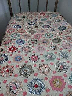 "Like the layout of hexagons with border and centres Vintage Antique Quilt Top Grandmother's Flower Garden 82"" x 66"" 