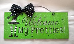 Halloween sign decor with glitter Welcome my by DiamondDustDesigns, $12.00  #iloveavocadosforhalloween