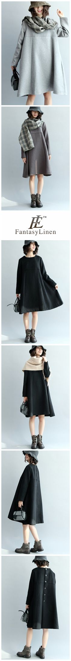A-Style Simple Wool Dress, Long Sleeve Loose Dress Q5437  Q5437Black