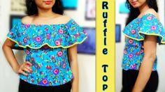 Off Shoulder Ruffle Top Cutting & Stitching   How to make Ruffle Top
