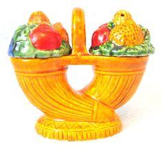 Vintage Collectible Novelty Salt and Pepper Shaker Set, Fruit Basket Set, Japanese Ceramics, Table Decor, Kitsch Item, Cruet Set, Colorful