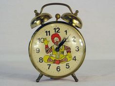 Nightmares! 1960s Vintage Ronald McDonald Alarm Clock, It Works