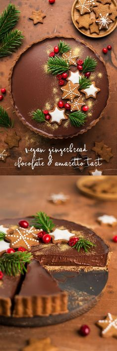 #tart #chocolate #xmas #glutenfree #christmas #dairyfree #eggless #gingerbread #ganache #amaretto #chocolate #dessert #plantbased