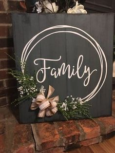 Family hand painted sign with hand drawn wreath burlap and lace bow foliage babys breath. Distressed weathered great gift Family hand painted sign with hand drawn wreath burlap and lace bow foliage babys breath. Crafts To Sell, Diy And Crafts, Crafts Home, Diy Wooden Crafts, Crafts For The Home, Home Craft Ideas, Craft Fair Ideas To Sell, Rustic Crafts, Pallet Crafts