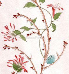 Robin's egg with Honeysuckle Robins Egg, Animal Drawings, Throw Pillows, Art Prints, Watercolor, Wreaths, Eggs, Tableware, Design