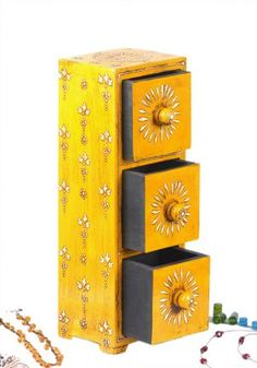 Yellow 3 Tier Wooden Chest – Buy Online | Storage Chests | Home Decor
