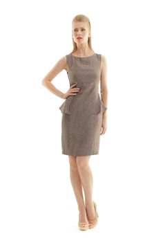 Classy sheath dresses are Conquista's calling card and this flattering peplum style piece with tailored seams plays up an hourglass silhouette. Wear this linen Classic Trench Coat, Business Fashion, Business Style, Linen Dresses, Sustainable Fashion, Peplum Dress, Cool Style, Fashion Dresses, Women Wear