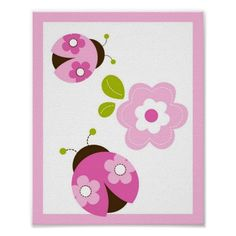 Ladybug Pink Green Flower Nursery Wall Art Print