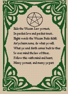 WICCAN REDE Witchy Pagan Cross Stitch Chart by Jannz on Etsy, $9.00
