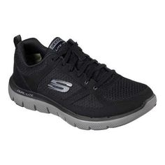 ... your workout with the SKECHERS Flex Advantage - Lindman shoe. Smooth  leather and cooling mesh fabric upper in a fabric lace up athletic training  sneaker ...