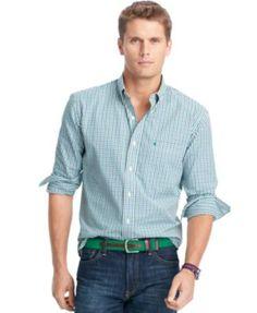 IZOD Tattersall Button-Down Shirt   macys.com