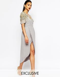 Image 1 ofVirgos Lounge Julisa Midi Dress With Wrap Front And Embellished Shoulders