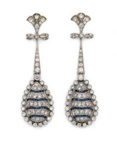 Pair of Diamond and Sapphire Pendant-Earrings Circa 1920.