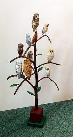 Owl Bird Tree -  Carving by Manfred Scheel