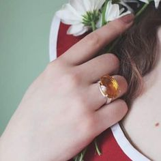 Our lost & found citrine cocktail ring with a beautiful @koocoo dress! We reclaim our stones from old pieces of jewellery that are being melted down for the metal, so each piece is extra special AND eco-friendly!