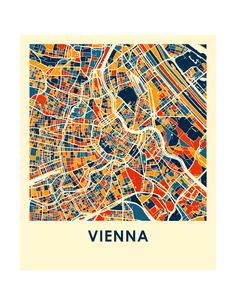 Etsy の Vienna Map Print Full Color Map Poster by iLikeMaps