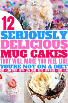 These keto mug cakes will help you stay in ketosis & satisfy your sweet tooth easily with recipes from keto cinnamon rol. Low Carb Meal Plan, Low Carb Lunch, Low Carb Dinner Recipes, Low Carb Desserts, Low Carb Keto, Lunch Recipes, Mug Cakes, Cake Recipes, Dessert Recipes
