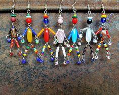 SIDEKICK little friend/man/person beaded bohemian OOAK rainbow pendant necklace/bracelet friendship gift/bridesmaid gift SusanRodebushArts, Diy Abschnitt, Seed Bead Tutorials, Beading Tutorials, Beading Ideas, Wire Jewelry, Beaded Jewelry, Handmade Jewelry, Handmade Beads, Jewellery, Diy Schmuck