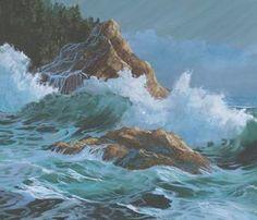 Items similar to Rocky Shore Paper Giclee Print Seascape Carol Thompson BinN on Etsy Rocky Shore, Evergreen Trees, Growing Tree, Ocean Waves, Pacific Northwest, Giclee Print, Original Paintings, Water, Artwork