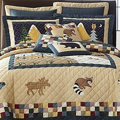 Patchwork Squares Print Moroccan Quilted Bedspread & Pillow Shams Set Quilts, Bedspreads & Coverlets Bedding