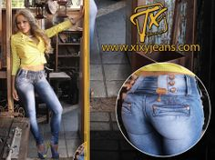 Jean para mujer. Tela stretch, levanta cola y bota tubo. Jeans colombianos #jean…