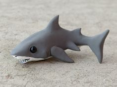 Tiny great white shark Handmade miniature by AnimalitoClay, $28.00